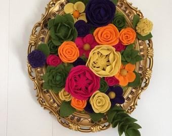 Vertical garden, hanging garden, floral decor, felt flowers, home decor, wall decor, floral arrangement, felt bouquet