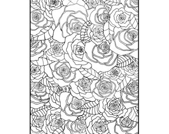 Rose Garden Adult Coloring Page Instant Download