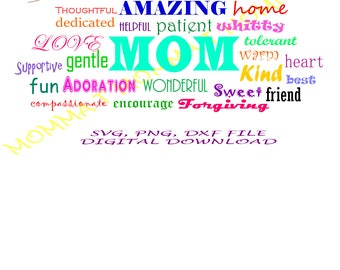 MOM AMAZING WONDERFUL/ mothers day svg,png,dxf/ digital download/ instant download mothers day card