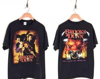 90s Brooks & Dunn Tour of America Promo T-Shirt. Awesome Vintage 1997 Double Sided Print Cow Skull Bull Brooks and Dunn New Country Music T