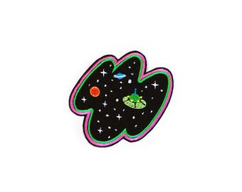 Open Space Patch Iron On Embroidered Patches Applique Embroidery • Art Cosmo UFO Planet Stars Surreal