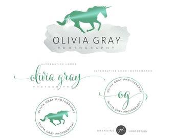 Unicorn Logo Design, Emerald green unicorn kit, Photography logo, Watermark, Premade Branding Package, Custom Logo Design, Branding kit 104