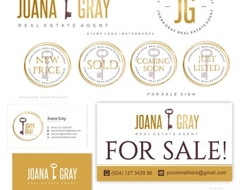 Real Estate logo design, Realtor logo, key logo, Premade Branding Kit, Business brand, Watermark, Gold logo, Business card, Boutique logo 78