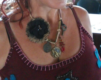 Handmade reversible steampunk charm necklace