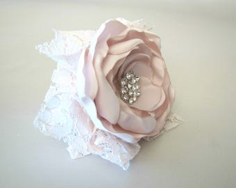Blush Pink Wrist Corsage, Shabby Chic Wedding Fabric Flower Corsage, Rhinestone Brooch Prom Vintage-Style Rustic, Mother of the Bride
