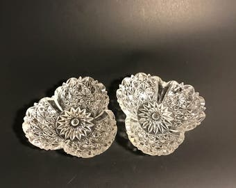 "Vintage Richards & Hartley ""Clover"" Relish Dish Circa 1885 Set of Two"