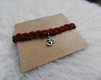 Suede Braided charm bracelet w/ Aum symbol