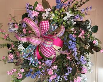 CLEARANCE Spring Wreath, Summer Wreath, Pink Wreath, Purple Flowers Spring Wreath