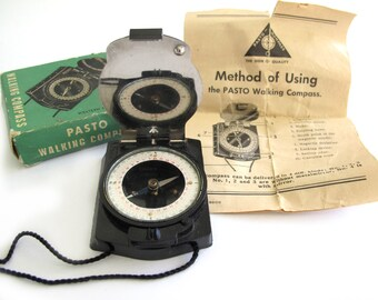 Pasto Walking Compass, Vintage, #4 With Mirror,  Instructions, Box , Western Germany