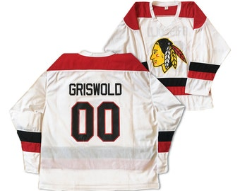 Clark Griswold Hockey Jersey # 00 As Worn In Christmas Vacation Movie Gift Griswald Chevy Chase Chicago Sweater Uniform Costume Adult White