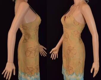 Womens Mini Tilt  Summer Halter Dress - String Neck Halter Womens Dress - Sleeveless Dress - Made in USA - Size Small
