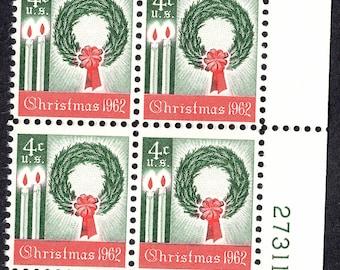 1962 Christmas Wreath Postage Stamps Unused Block