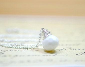 Bright White Briolette Necklace, Silver Wire Wrap Pendant, Minimal Monochrome Simple Modern Jewelry