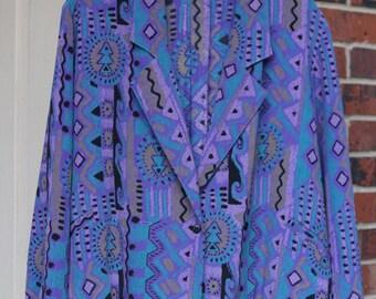 Purple Black Blue Brown Wild Print Crazy Aztec Pattern Woman's Shirtstrings 1980s Blazer Button Up Blouse Lightweight Vintage Retro Hipster