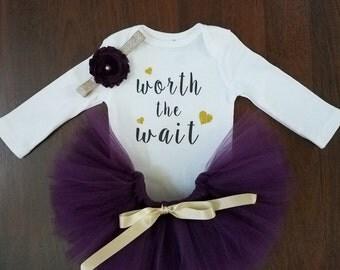 Newborn Purple Tutu Set - Worth the Wait Outfit
