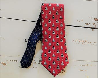 100 % Silk Tommy Hilfiger Red Nautical/Sailboat/Ship/Stars/Anchor Tie