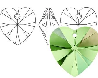 Swarovski 6228 Crystal Heart Pendant 10mm Peridot AB 4PC 12PC