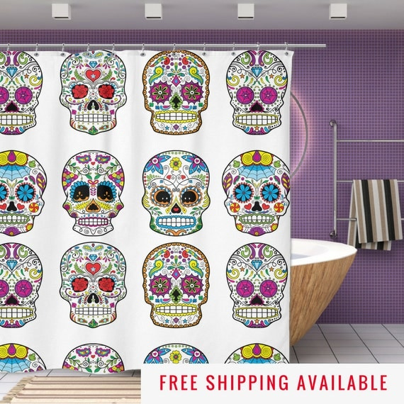 sugar skull shower curtain mexican skull decor by nukryptonteesco. Black Bedroom Furniture Sets. Home Design Ideas