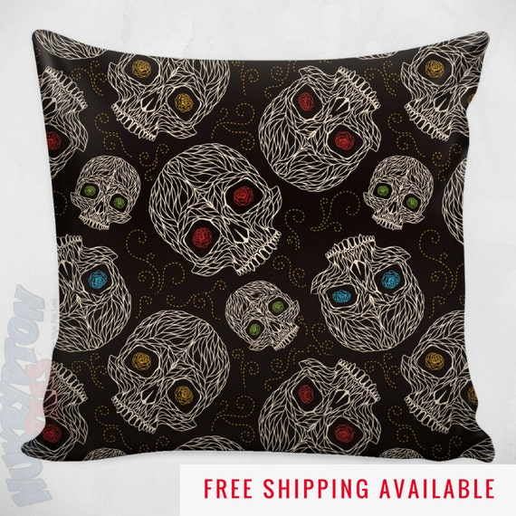 Black Decorative Pillow Cases : Skull Pillow Case Black Decorative Pillow Cool Home Decor