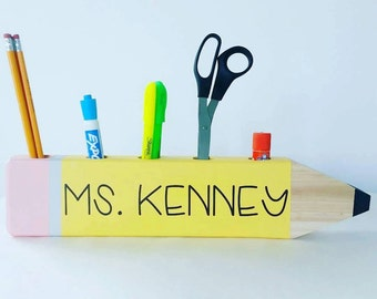 Personalized Pencil Desktop Caddy: Perfect gift for teachers! Christmas Gift for Teachers, Teacher Gift, Desk Organizer