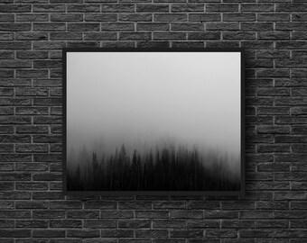 Misty Forest Print - Monochrome Art - Minimalist Photo - Woodland - Nature Photo - Black White - Forest Wall Art - Minimalist Wall Decor