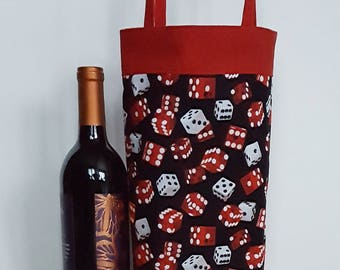 Dice wine bag, gambling gift bag, wine tote bag, bachelor party gift, casino night, bottle tote, dice wine tote, game night, Father's Day