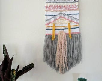 Multi-Colored Woven Wall Hanging | White, Mustard, Pink and Grey Woven Wall Hanging | Tassle Woven Wall Hanging | Baby Decor