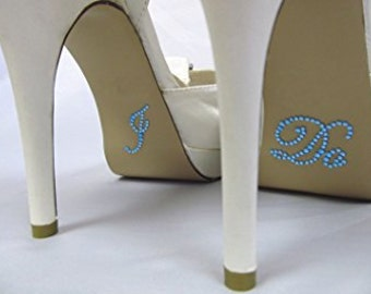 Blue Rhinestone I do Wedding shoe decal, wedding shoe sticker, something blue, custom shoe decal, mrs wedding shoe sticker