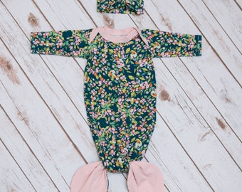 Green Floral and Pale Pink Mermaid Style Baby Gown & Headband Set