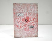 "Handmade Hearts Card ""you & me"", anniversary, love and romance"