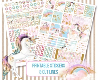 Digital Planner Stickers, Rainbow Unicorn Printable Stickers, Weekly Stickers, Silhouette Cut File, Pastel Scrapbook Stickers, ECLP