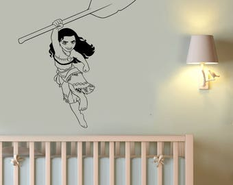 Moana Wall Sticker Disney Princess Vinyl Decal Polynesian Art Fantasy Cartoon Decorations for Home Kids Girl's Room Movie Decor mna2