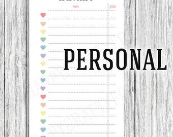 Planner insert, wishlist format personal