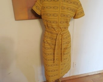 FREE SHIPPING - Vintage Yellow Tribal Dress with Bowtie - Short Sleeve, Belted, Midi Length