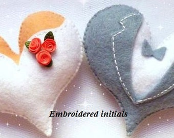 Personalized Heart Christmas ornament Heart ornament felt ornaments Valentine's day Housewarming St Valentines gift for girlfriend