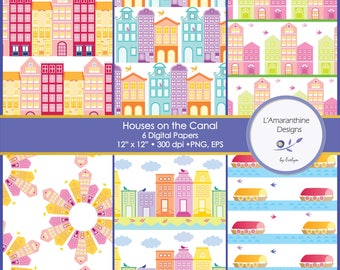 Houses on the Canal, Amsterdam, Historical, Houses, Dutch, Canal, Boat, Commercial Use, Clipart, Digital Papers, Scrapbook