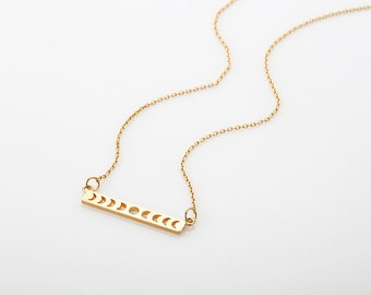 Moon Phases Necklace, Gold Bar Pendant Necklace, Crescent Moon Charm Necklace, Rose Gold Celestial Jewelry, Lunar Necklace, Gift for woman