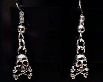 Tibetan Silver Skull and Crossbones Drop Earrings