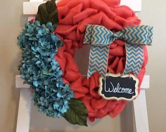 Spring Wreath, Hydrangea Wreath, Every Day Wreath, Front Door Wreath, Burlap Wreath, Coral Wreath, Teal Wreath, Easter Wreath