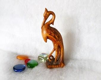 Art Wood sculpture Bird crane figurine Hand carved wooden statue Carving Small Woodcarving figure Ukrainian handcarved artwork Shelf decor