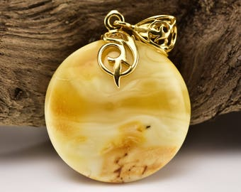 Round Shape Pendant, Amber Pendant, Natural Stone Pendant, Birthday Gift For Her, Healing Gemstone, Sterling Silver Gold Plated Pendant,