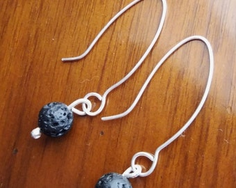 Silver and lava stone drop earrings