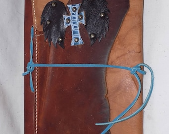 Leather Covered Journal with Blue Cross and Black Wings