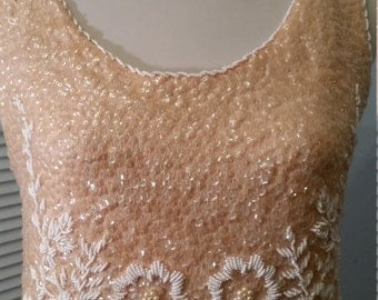 1950s 60s  Gorgeous All Beaded Sequined Iridescent Wool Flapper Tank Top Shell Size M