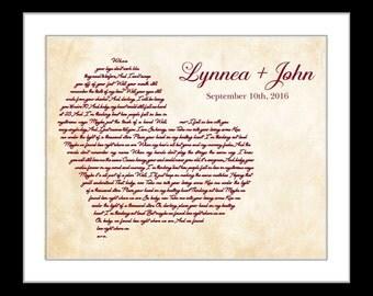 First dance lyrics print, anniversary gift, wedding song, personalized wedding print, custom song lyric art