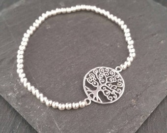 Genuine 925 Sterling Silver Stackable Beaded Elastic Stretch Tree of Life Ball Bead Charm Bracelet
