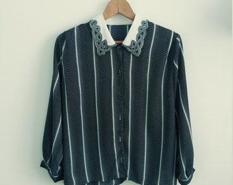 Vintage female shirt. Woman shirt long sleeve.