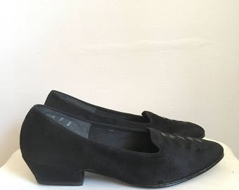 Suede slip on loafers, 90s, low heel, soft leather, Naturalizer, size 7, *vintage*