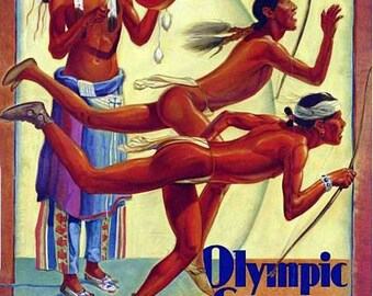 Vintage 1932 Los Angeles Olympic Games  Poster A3 Print