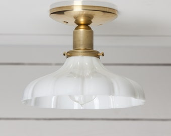 Vintage Milk Glass Ceiling Light Brass Base- UL LISTED